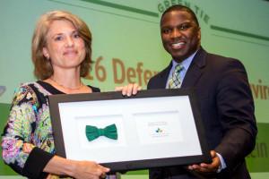 Anna Stein accepts NCLCV award on behalf of Senator Josh Stein at 2016 Green Tie