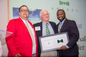 Mack Pearsall (center) awarded 2017 Catalyst at Green Tie; next to Dan Crawford, NCLCV's director of governmental relations and Courtney Crowder, NCLCV's Board President
